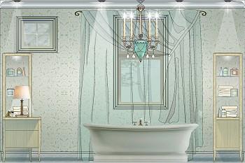 Интерьер ванной комнаты в стиле русской усадьбы